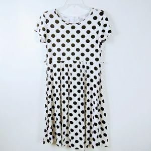 ASOS White Pleated Dress Polka Dot Black Sz 8